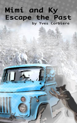 Picture Cover of novel with snow, truck and dog